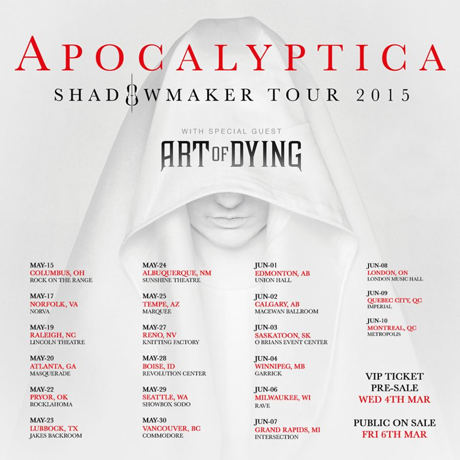 Art of Dying Apocalyptica Tour Poster